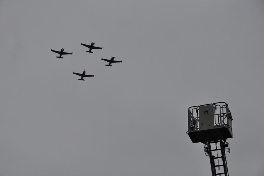 Le défilé aérien depuis le Sablon.